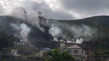 The flames, smoke and fumes from landfill fires at Pockwood Pond on Tortola have caused undue stress, discomfort and health concerns to those affected. Photo: Facebook