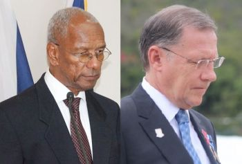 Premier Dr The Honourable D. Orlando Smith (left) has not been loud and clear about self determination for the Virgin Islands. He did say recently that he wants the Virgin Islands to have a say in the Brexit negotiations and not just to be consulted. This is left to be seen since the local governor Mr John S. Duncan OBE (right) continues to be a strong arm and dictate to the Smith Administration. Photo: VINO/File