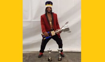 2019 Soca Monarch Ramon George aka Ramon G displays his crown and trophies won at the Prime Time Festiville on August 3, 2019. Photo: VINO