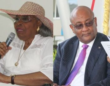 Talk show host Julio S. Henry agrees with former legislator Mrs Eileene L. Parsons OBE (left) that the portfolio of Finance should be given to Health Minister Hon Ronnie W. Skelton (AL), right. Photo: VINO/File