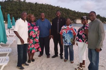 Hon Natalio D. Wheatley (Centre) along with Virgin Islands Legislators and owners at the February 9, 2020, opening of D-Tan Spot on Brandywine Bay Beach. The Minister said the area has great of potential for development in the area including water sports, craft and food vending. Photo: Team of Reporters