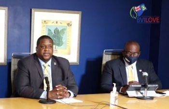 A previously estimated $450 cost per tourist has been reduced to almost a third, Premier and Minister of Finance, Hon Andrew A. Fahie (R1) announced in an update to the re-opening protocols on Tuesday, November 10, 2020, alongside Minister for Health and Social Development, Hon Carvin Malone. Photo: GIS/Facebook