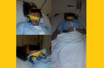 The female student who was hospitalised after being beaten by a male student of Bregado Flax Educational Centre (BFEC) in October 2016. Photo: VINO/File
