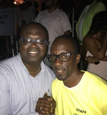 Speaker of the House of Assembly Hon Julian Willock, left, with promoter and CEO of KT Productions Mr Kenny Thompson at the Long Walk to Freedom Concert featuring Mark Anthony Myrie aka 'Buju Banton' at Festival Grounds, Tortola, on June 15, 2019. Photo: Facebook