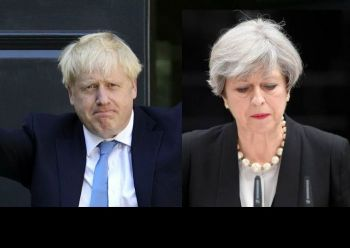 Alexander Boris de Pfeffel Johnson, left, will replace Theresa M. May, right, as Prime Minister of the United Kingdom. Photo: AFP