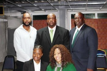 VIP Chairman, Hon Andrew A. Fahie (at centre)is flanked by At-Large Candidates (clockwise), Mr Neville A. Smith, former Party President, Mr Carvin Malone, BVI Tourist Board Manager and social activist, Ms Shereen D. Flax-Charles and Businesswoman and former candidate, Ms Sharie B. deCastro. Photo: Team of Reporters