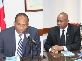 Minister for Communications and Works Honourable Mark H. Vanterpool (R4), left, had said that the entire project, both land and seaside, would cost $45 million. Amid the allegations of corruption at the Ports Development Project, Claude O. Skelton Cline's contract as BVIPA Managing Director has not been renewed. Photo: VINO/File