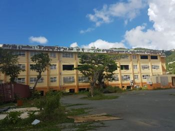 Nothing to date has been done to restore the Elmore Stoutt High School following hurricanes Irma and Maria of 2017. Photo: VINO/File