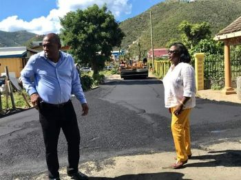 "New roads can be seen in the Road Town waterfront area and in Purcell Estate leading to Free Bottom on Tortola. The District Representative, Hon Alvera Maduro-Caines (R6) said she had to ""harass"" the Communications and Works Minister, Hon Mark H. Vanterpool (R4) to get the road done. Photo: Team of Reporters"