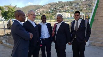 Lawyers for both Mr Vanterpool and Speaker Willock outside the courtyard, including Mr Valston Graham, current Director of Public Prosecutions (DPP), St Kitts and Nevis (first left) and Queen's Counsel, Edwards H. Fitzgerald (second left). Photo: Team of Reporters