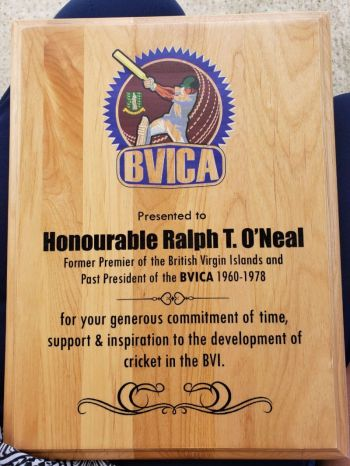 A lover of the game of cricket and a former President of the British Virgin Islands Cricket Association (BVIAA), Hon Ralph T. O'Neal, OBE was honoured for his sterling contribution to cricket in the Virgin Islands when the British Virgin Islands Cricket Association (BVICA) presented him with a plaque and held a match in his honour at Greenland Playfield on April 14, 2019. Photo: VINO
