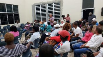 A section of the audience at the Valarie O. Thomas Community Centre in Sea Cows Bay. Photo: VINO