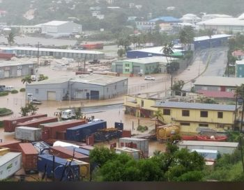 Flooding in Port Purcell, Tortola, after Hurricane Dorian passed over the Virgin Islands on the afternoon of August 28, 2019. Photo: Team of Reporters