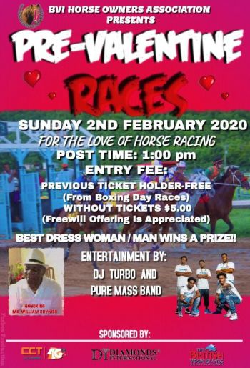 The flyer for the Pre-Valentine's Horse Races at Ellis Thomas Downs on Sunday, February 2, 2020. Photo: Facebook