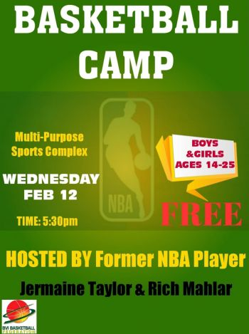 The BVI Basketball Federation (BVIBF) has organised a basketball camp for boys and girls aged 14-25 at the Multi-Purpose Sports Complex in Road Town from 5:30pm today, February 12, 2020. Photo: BVIBF