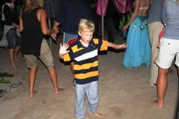 The star of the night was a fixture on the beach-turned-dance floor. Photo:VINO