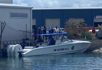 Law enforcement officials with the persons arrested at the Police Marine Base at Road Reef on June 15, 2020. Photo: Team of Reporters