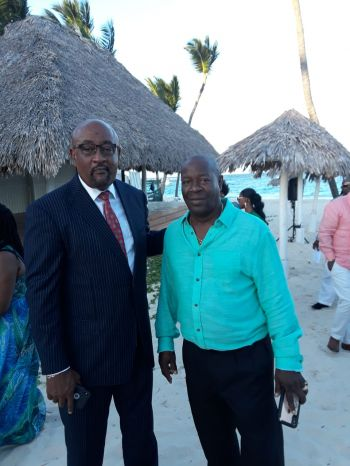 Chairman of the Progressive Virgin Islands Movement (PVIM) and former legislator, Mr Ronnie W. Skelton, left, and former Chairman of the Virgin Islands Festival and Fairs Committee, Mr Marvin E. Blyden at the wedding of Opposition Leader Hon Marlon A. Penn (R8) and CEO of the National Bank of the Virgin Islands, Joy N. Francis . Photo: Team of Reporters