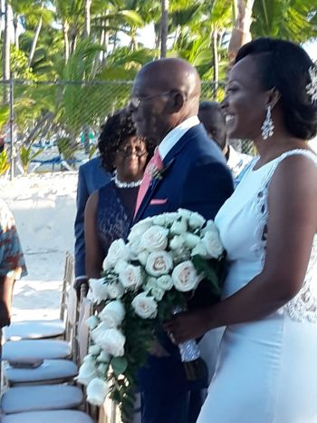 Bride Joy N. Francis being escorted by her father to the altar. Photo: Team of Reporters