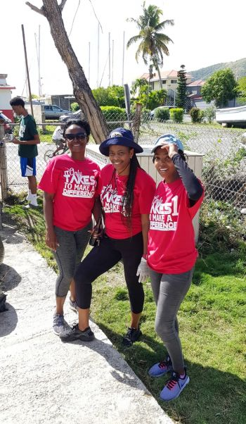 Some Members of the BVI Basketball Federation (BVIBF) who helped to repaint the Nurse Iris Penn-Smith Clinic in Parham Town yesterday, December 14, 2019. Photo: BVIBF