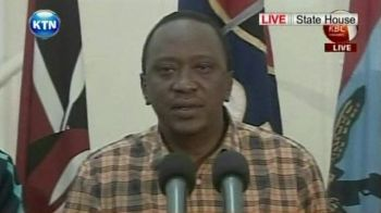 Kenya's President Uhuru Kenyatta is making a statement on the ongoing siege at a shopping centre in Nairobi. Photo: BBC NEWS
