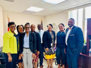 Members of the interim executive body of the Civil Service Association following their first meeting with Deputy Governor Mr David D. Archer, right, on Tuesday, June 25, 2019. Photo: Provided
