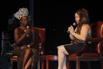 Miss BVI 2014 Jaynene Jno-Lewis on stage in a chat with the host. Photo: VINO