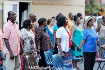 Part of the gathering at the Emancipation Service at the Sunday Morning Well in Road Town on August 2, 2015.