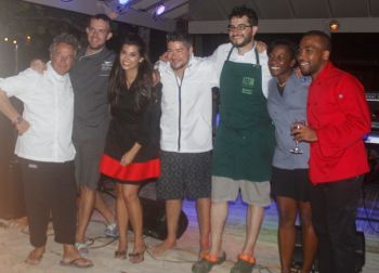 The participating chefs at Barefoot Gourmet Soiree on Peter Island. From left: Davide Pugliese, Todd Howard, Kristin Sollenne, Bastian Falkenroth, Antonio Soriano, Gorvey A. Henry and Erika Dupree-Cline. Photo: VINO