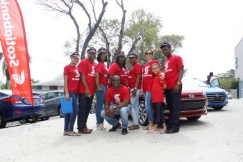 Scotiabank representatives were kept busy as they seemed to had the most customer flow at the Tortola Auto Group's (TAG), 'Sweetheart Deals' Valentine Sales event on February 12 and 13, 2016. Photo: VINO