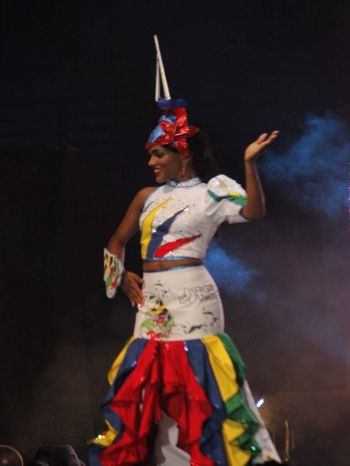 Genesis R. Cuello, contestant number one during the cultural dress at the 2017 Miss BVI pageant on Sunday August 6, 2017 at the Multi-Purpose Sports Complex. Photo:VINO
