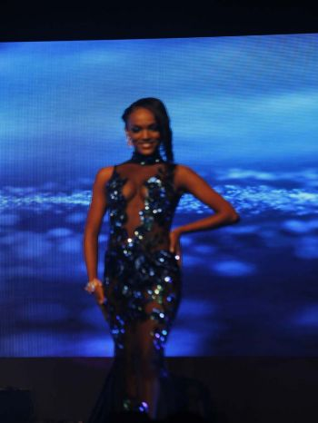 Contestant number one, Genesis R. Cuello in evening wear segment. Photo: VINO