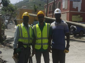 Members of the VINLEC team from St Vincent assisting with power restoration in Greenland East End. Photo: VINO