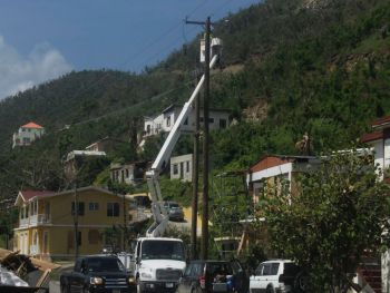Electricity being restored throughout the territory. Photo: VINO/File