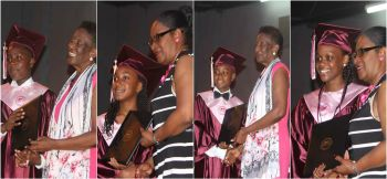 Some of the graduates of the Althea Scatliffe Primary School receiving their diplomas from Honorable Delores Christopher, Fifth District Representative and Mrs Connie George, Acting Chief Education Officer. Photo: VINO/File