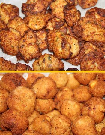 Acras (above) and breadfruit balls (below) were some of the food items made. Photo: Provided