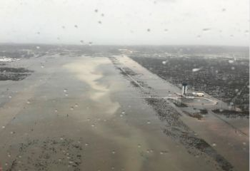 This Monday, September 2, 2019 photo released by the US Coast Guard Station Clearwater, shows flooding on the runway of the Marsh Harbour Airport in the Bahamas. Photo: US Coast Guard Station Clearwater via AP