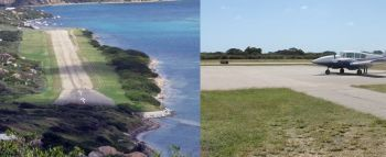 The Taddy Bay Airport on Virgin Gorda (left) and the Auguste George Airport on Anegada (right). Photo: Internet Source/VINO