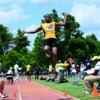 "Top Notch Track Club's Akeem Bradshaw missed winning the Classic Boys Long Jump by ¼"" with a personal best leap of 7.35m (24'1¾"") to break his own National Scholastic mark of 7.26, set at this year's Carifta Games. Photo: Provided"