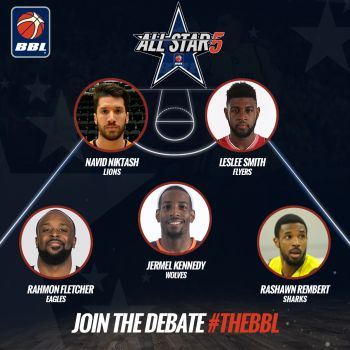 The British Basketball League (BBL) All-Star Five that includes Leslee J. Smith. Photo: Bristol Flyers/File