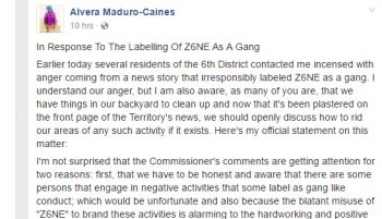 Part of the Facebook post by Sixth District Representative Hon Alvera Maduro-Caines. Photo: Facebook