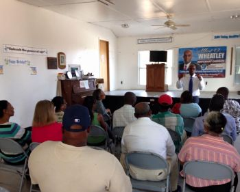 Mr Albert O. Wheatley addressing residents of Anegada at the Emile E. Dunlop Community Centre on May 17, 2015. Photo: Provided