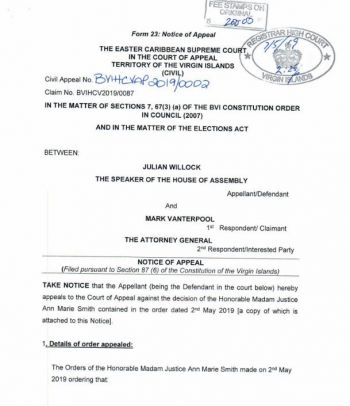 Appeal filed by Hon Julian Willock, Speaker of the HoA on the ruling handed down by Justice Ann-Marie Smith on May 2, 2019. Photo: Provided