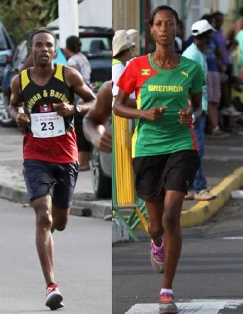 Kamar Thomas of Antigua (left) and Kenisha Pascal of Grenada have indicated their intentions of coming to the Virgin Islands for the 10th BVI Sunrise Half Marathon on December 5, 2015. Photo: Paul E. Voisin/Facebook
