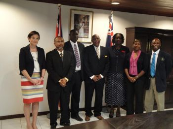 Victor F. Banks was sworn in as the new head of government of Anguilla after his Anguilla United Front (AUF) was swept into power on Wednesday. Here he is seen with his 4-member Cabinet and Governor of Anguilla, Christina Scott (left). Photo: Facebook