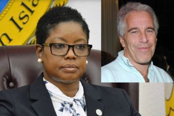 US Virgin Islands (USVI) Senator Alicia V. Barnes, left, said on Monday, July 15, 2019 she would return $1,000 donated to her campaign in 2018 by a company that accused child molester Jeffery E. Epstein, inset, owns. Photo: Internet Source
