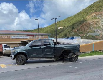 The damaged pickup in front Clarence Thomas Ltd on February 18, 2020. Photo: Team of Reporters