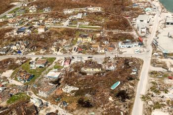 An aerial view of the damage in the Abaco Islands in the Bahamas after Hurricane Dorian. Photo: Christy Delafield/Mercy Corps