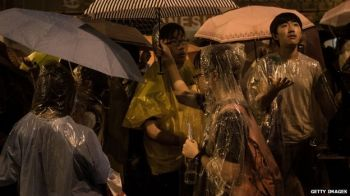 Heavy rain in Hong Kong late on Tuesday failed to dampen the protesters' enthusiasm. Photo: BBC