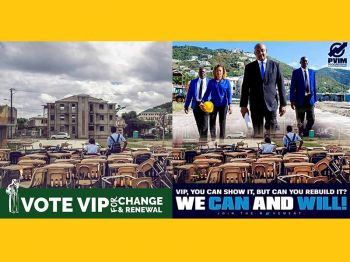 "He further lashed out to a billboard and social media battle between the two opposition parties on who could get the ESHS up and running in a new building, ""To use our children as a pond on billboards for elections purposes is low even for the Virgin Islands Party."" Photo: Facebook"